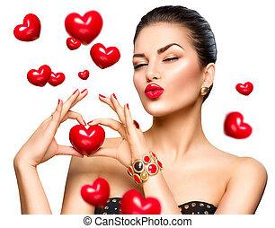 serce, kobieta, jej, piękno, pokaz, ręka, fason, czerwony