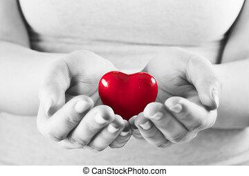 serce, kobieta, miłość, udzielanie, protection., troska, zdrowie, hands.