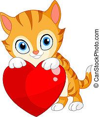 serce, kociątko, valentine