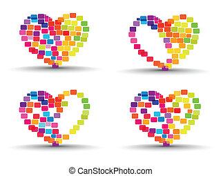 serce, komplet, barwny, abstrakcyjny, list miłosny, odizolowany, modeluje, robiony, tło, day., elementy