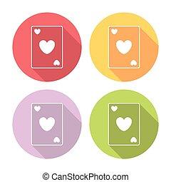 serce, komplet, płaski, ikony, garnitur, grając kartę