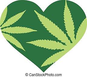 serce, konopie, zielony, liście