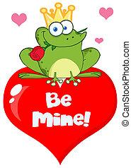 serce, książę, żaba, czerwony