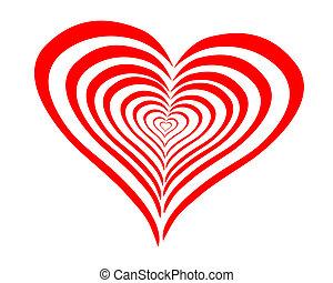 serce, kwestia, czerwony, łukowaty