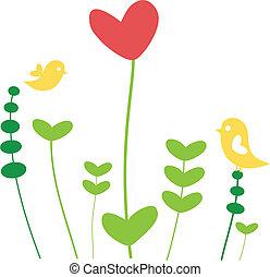 serce, kwiat, ptaszki