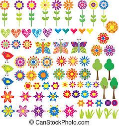 serce, kwiat, zwierzę, zbiór