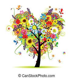 serce, lato, kwiatowy, drzewo, formułować
