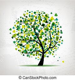 serce, liść, abstrakcyjny, drzewo, projektować, tło, grunge, twój