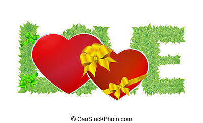 serce, liście, zielony