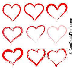 serce, list miłosny, valentine, wektor, serca, dzień, czerwony