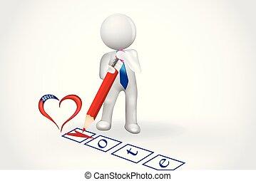 serce, ludzie, checklist, -, mały, głos, 3d