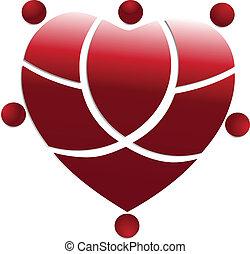 serce, ludzie, medyczny zaprzęg, logo, czerwony