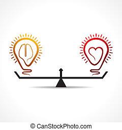 serce, mózg, pojęcie, równość