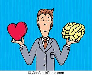 serce, między, biznesmen, wybierając, mózg