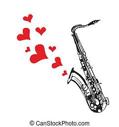 serce, miłość, grająca muzyka, saksofon
