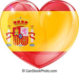 serce, miłość, hiszpania bandera