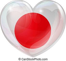 serce, miłość, japonia bandera