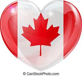serce, miłość, kanada bandera