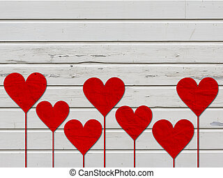 serce, miłość, list miłosny, drewno, deska, serca, dzień