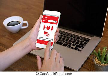 serce, miłość, para, czerwony, online, cyple, datując, znaleźć, szczęście