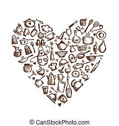 serce, miłość, rys, cooking!, przybory, formułować, projektować, twój, kuchnia