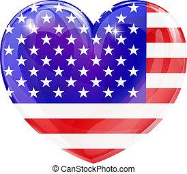 serce, miłość, usa bandera