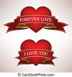 serce, miłość, woluta, wstążka