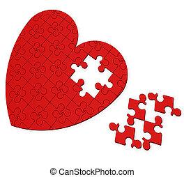 serce, niedokończony, valentine, zagadka, dzień, widać