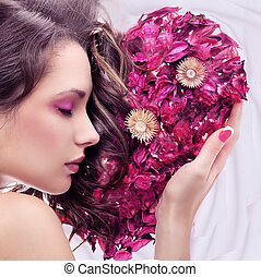 serce, piękno, młody, portret, róża