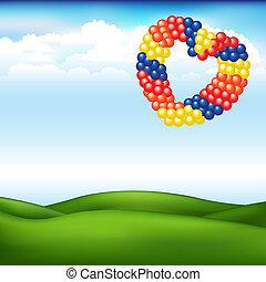 serce, piłki, krajobraz, kształt