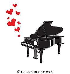 serce, piano, miłość, muzyka