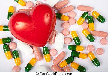 serce, pigułki, czerwony
