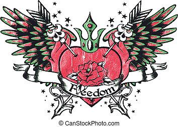 serce, plemienny, królewskość, skrzydło