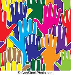 serce, podobny, ludzie, poparcie, ręka, jednostka
