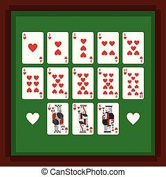serce, pogrzebacz, komplet, garnitur zieleni, bilety, stół, interpretacja