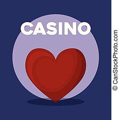serce, pogrzebacz, symbol, kasyno, garnitur, karta