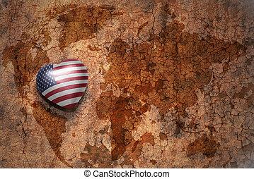serce, pojęcie, mapa, rocznik wina, krajowy, stany, tło., bandera, zjednoczony, papier, trzaskać, świat, ameryka