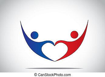 serce, pojęcie, miłość, taniec, młody, symbolika, samica, szczęście, błękitny, &, -, forma., para, czerwony, szczęśliwa kobieta, radość, symbol, skokowy, siła robocza, utrzymywać, człowiek, barwny, taniec, do góry, osoba, samiec