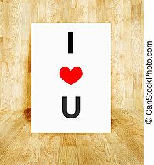 serce, pojęcie, słowo, afisz, balloon, valentine, drewno, parkiet, miłość, biały pokój