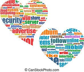 serce, pojęcie, słowo, handel, towarzyski, skuwka, media, chmura