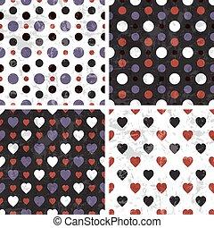 serce, poka, seamless, wzory, wektor, dekarstwo, kropka