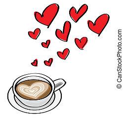 serce postało, doodle, valentine, ilustracje, latte., pojęcia, datując