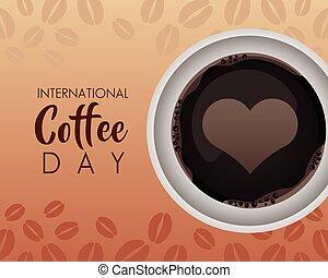 serce, prospekt, filiżanka, powietrze, dzień, międzynarodowy, celebrowanie, kawa