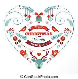 serce, ptaszki, elementy, jeleń, projektować, wstążki, boże narodzenie