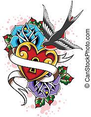 serce, róża, jaskółka, capstrzyk