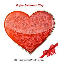 serce, róże, karta, valentine