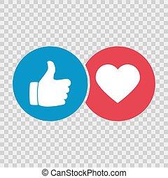 serce, ręka, podobny, ikona