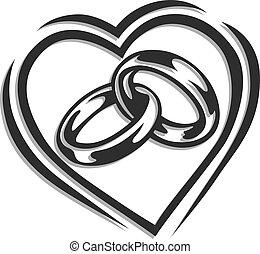 serce, ring, ślub