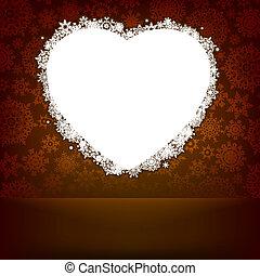 serce, robiony, snowflakes., eps, 8, biały