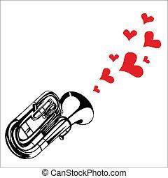 serce, romansowy śpiew, valentine, muzyka, trąbka, interpretacja, dzień